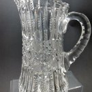 American Brilliant Period Cut Glass Pitcher  Antique Harvard band, crystal