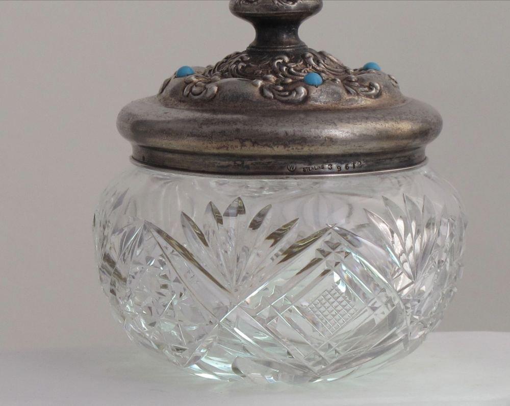 Old Cut Glass powder jar W Sterling 39612 silver lid Antique Crystal