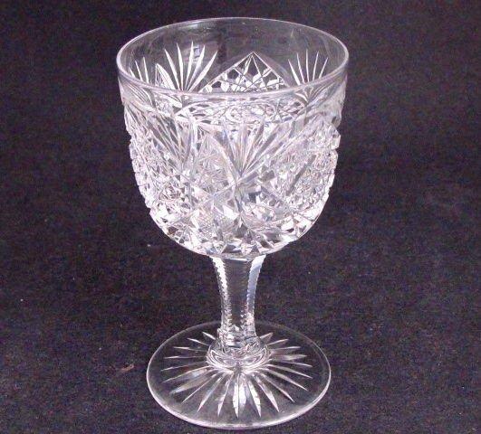 American Brilliant Period Cut Glass WINE glass Antique Crystal Hoare Monarch