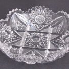 American Brilliant Period Cut Glass  low bowl   Antique crystal hobstar