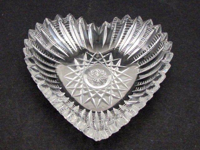 American Brilliant Period Cut Glass heart shape dish  Antique abp crystal