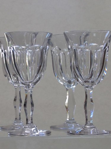 Cut glass water  fluted panel goblets 4 pieces WEBB CORBETT