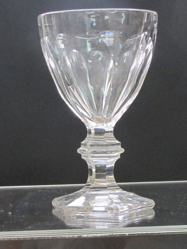 Cut glass wine glass with hand cut  fluted panel  4 pieces
