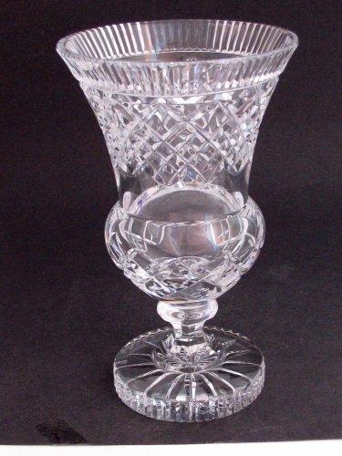 Hand Cut glass Pedestal vase cut star on base
