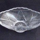 Old  hand Cut Glass oval bowl Crystal, Stone wheel cut