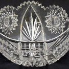 American Brilliant Period hand Cut Glass and mouth blown bowl abp Wheel polished
