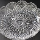 American Brilliant Period Hand Cut Glass low bowl strawberry diamond fan abp