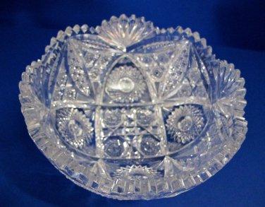 "American Brilliant Period hand Cut Glass Antique  8"" bowl ABP, Wedding gift"