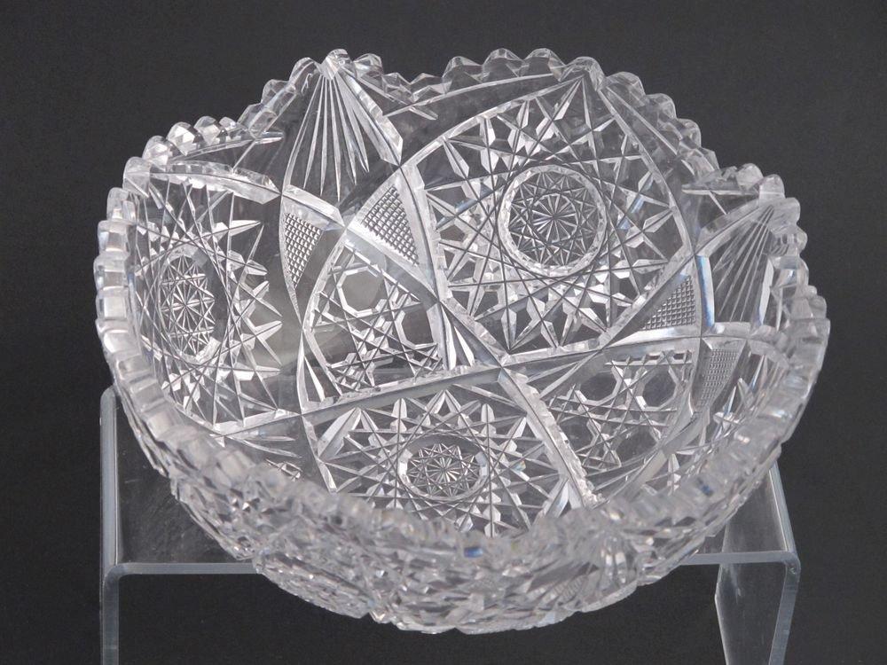 "American Brilliant Period hand Cut Glass mouth blown Antique 8"" bowl ABP"