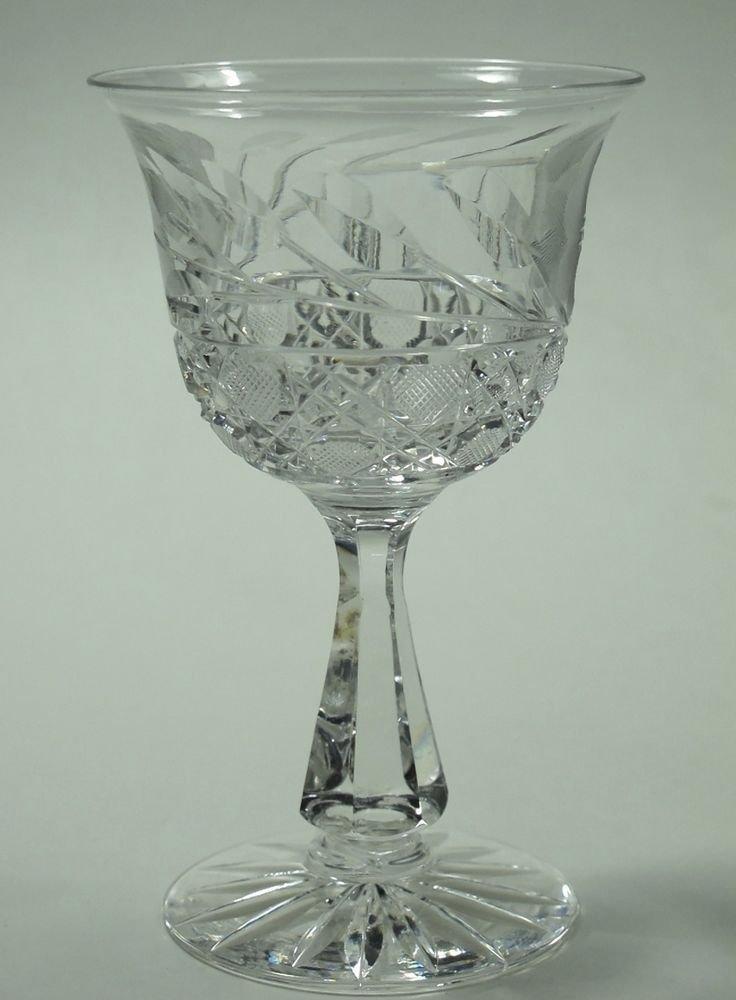Cut glass wheel etched wine stemware bell shape glass Hand cut