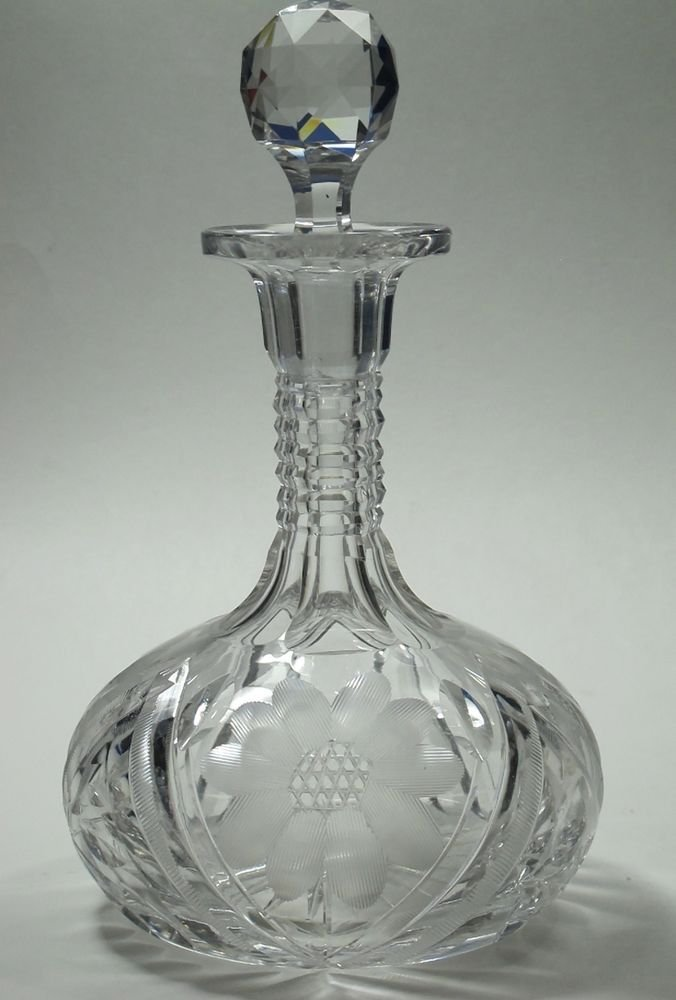 Cut glass wheel etched wine  decanter glass Hand cut