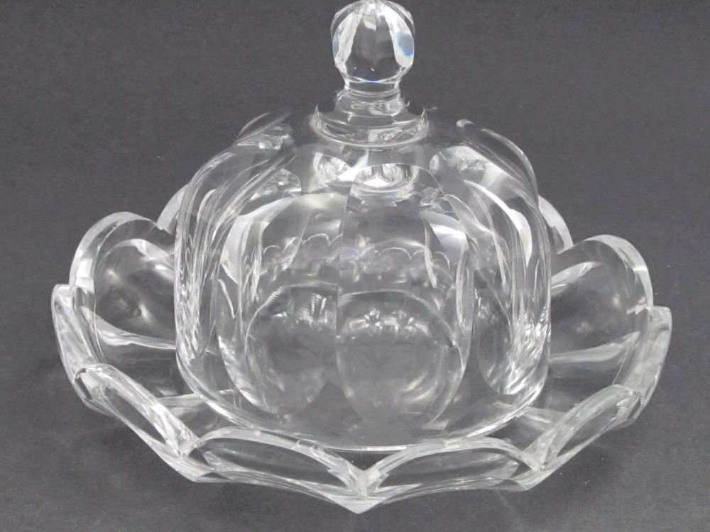 American Brilliant Period Cut Glass cheese dish FLUTED CUT Antique ABP