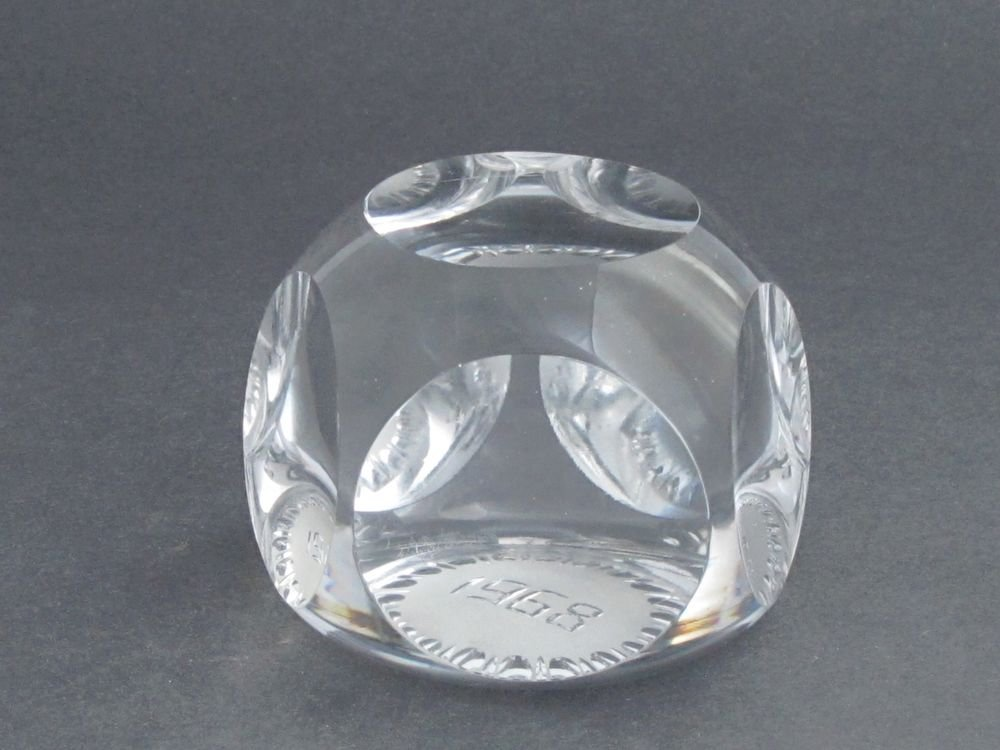 cut Glass hand made made  paperweight signed Cristallerie Lorraine france 1968