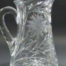 Wheel cut glass pitcher hand cut