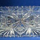 signed Hawkes American Brilliant Period Cut Glass dish  ABP  Antique blow blank