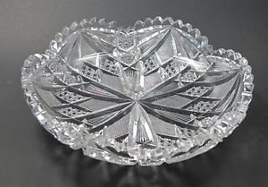 American Brilliant Period hand Cut Glass and mouth blown low bowl