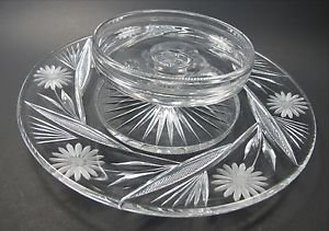 American Brilliant Period hand Cut Glass chip n dip N
