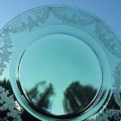 """Green copper wheel engraved glass plate plate 8.75"""""""