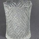 Hand Cut glass vase / spooner strawberry diamond and fan