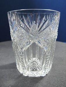 American Brilliant Period Cut Glass Tuetonic tumbler signed Hawkes