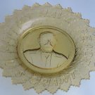 """S.Grant amber """"LET US HAVE PEACE"""" GLASS PLATE"""