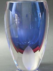 Hand Cut Glass blue vase / cranberry