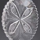 American Brilliant Period hand Cut Glass oval dish floral