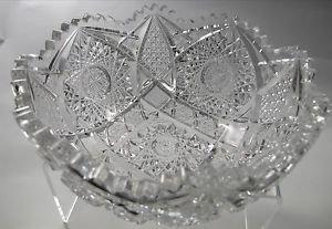American Brilliant Period hand Cut Glass bowl ABP antique hobstar