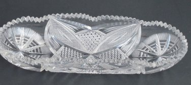 American Brilliant Period hand Cut Glass celery dish