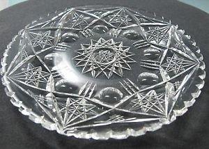 Plate American Brilliant Period Cut Glass  blown blank Antique