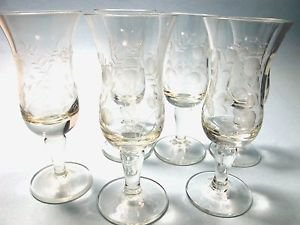 6 wheel cut  etched liquor glass Hand cut