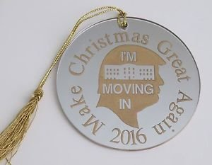 Trump 2016 make Christmas great again ornament USA GOLD  mirror decoration