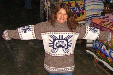 Ladies Grey Sweater Large Inka Symbol Pure Alpaca Wool
