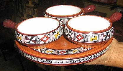 Peruvian ceramic set, hand painted,a tray with 3 bowls