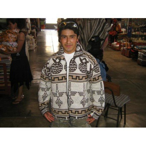 Ethnic peruvian alpacawool jacket for men,outerwear