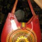 Unique leather Handbag, handmade in Peru