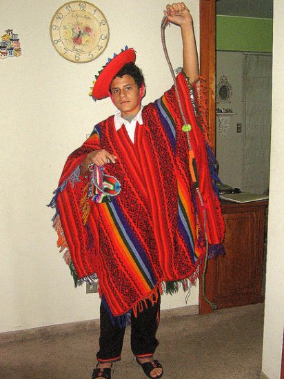 Folkloric Colorful ethnical Costume from Peru, Andean