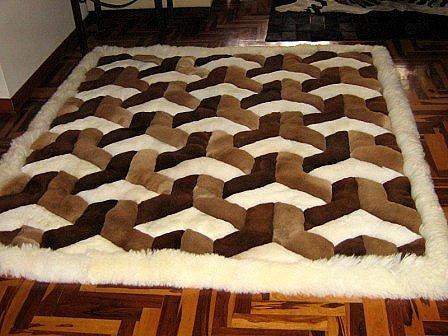 Peruvian Alpaca fur rug with a 3D-Design, 90 x 60 cm