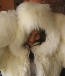 Hooded alpaca fur Overall, pelt outerwear for outdoor