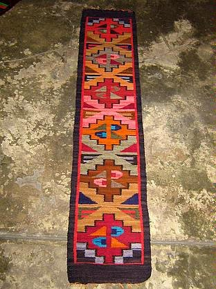 Hand-weaved colorful rug from Peru, Runner with Inca signs