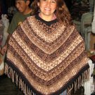 Embroidered brown Poncho,natural alpacawool,outerwear