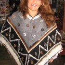 Embroidered Poncho,jacket made of Alpacawool