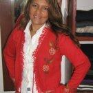 Red cardigan made of pure Babyalpaca wool