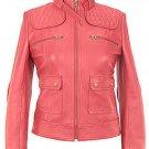 Women's fancy pink Leather Motorcycle Jacket