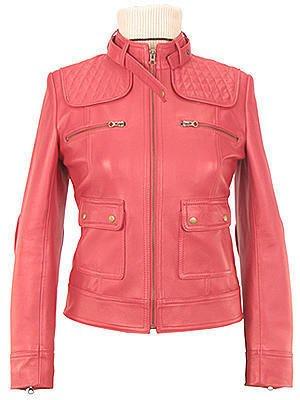 Women�s fancy pink Leather Motorcycle Jacket
