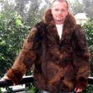 Brown Alpaca pelt jacket for men, fur outerwear