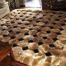 Octagon design alpaca fur rug, browns & black