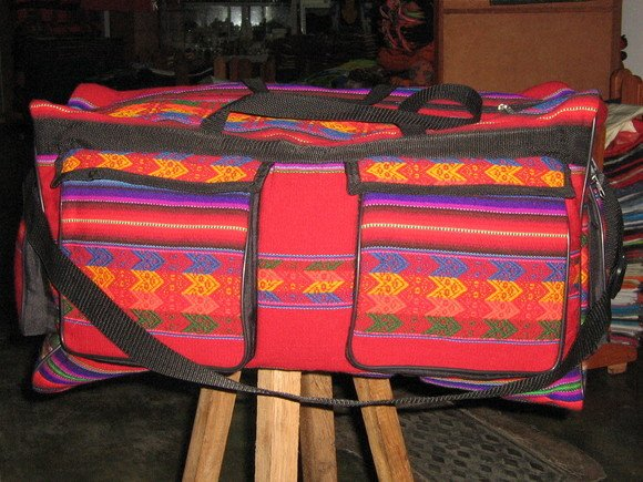 Colorful sport bag with 4 outside pockets