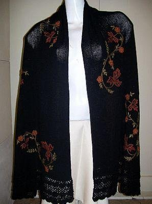 Embroidered huge shawl,cape with pure Alpaca wool