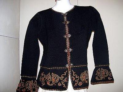 Embroidered black jacket, Alpacawool